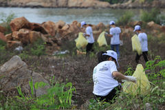 Students of Nha Trang University cleaning the beach Stock Photos