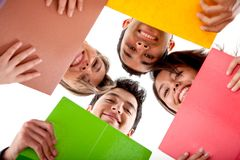 Students with notebooks Stock Photo
