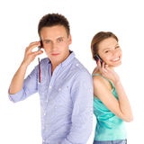 Students On The Phone Royalty Free Stock Photos