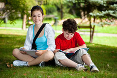 Students outdoor royalty free stock photos