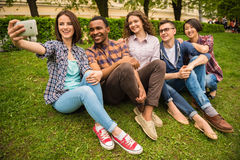 Students outdoors Stock Image