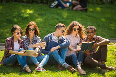 Students outdoors. Group of young attractive smiling students dressed casual sitting on the lawn in park and studying Stock Photo