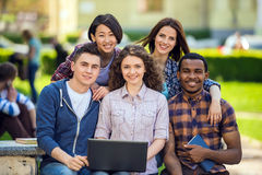 Students outdoors Royalty Free Stock Photos