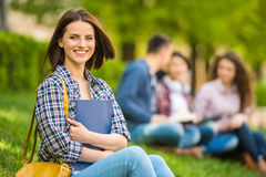 Students outdoors Stock Images