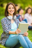 Students outdoors Royalty Free Stock Image