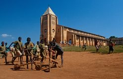 Students outside a Catholic school in Rwanda Royalty Free Stock Photo