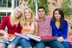 Students Outside Of School Stock Photos