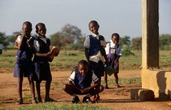 Students outside a school in Rwanda Stock Image
