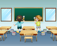 Students painting their classroom royalty free illustration