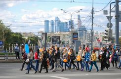 Students parade. Moscow city business center. Stock Images