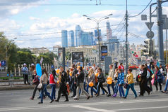 Students parade in Moscow. Moscow city business center. Royalty Free Stock Images