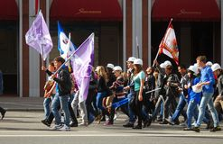 Students parade in Moscow Royalty Free Stock Photo