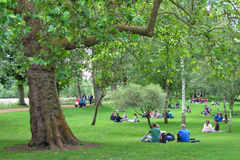 Students in park, Oxford, UK. Stock Photo