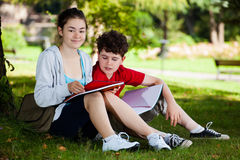 Students in park Royalty Free Stock Images