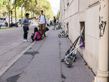 Students park their push scooters near lycee, Paris Stock Images
