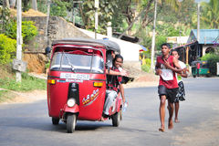 Students participate in the local marathon in Sri Lanka Royalty Free Stock Photos