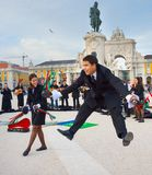 Students perform dance Lisbon Portugal stock image