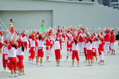 Students performing on stage during National Day Parade (NDP) Rehearsal 2013 Stock Image