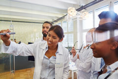 Students in physician apprenticeship. In workshop learning together royalty free stock photography