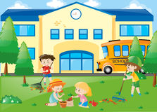 Students planting trees and raking leaves. Illustration vector illustration