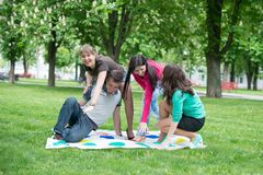 Students play the game twister Royalty Free Stock Photography
