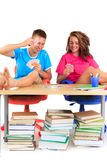 Students playing cards Stock Photography