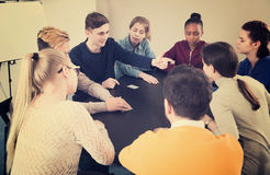 Students playing Mafia game Royalty Free Stock Images