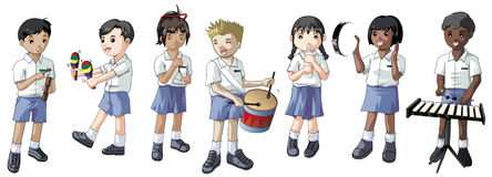 Students playing musical instruments. Group of uniformed students playing instruments vector illustration
