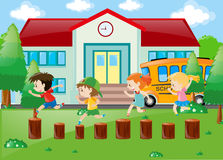 Students playing in the school yard. Illustration Stock Photos