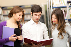 Students portrait in a library Stock Photography