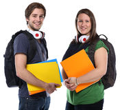 Students portrait smiling people isolated. On a white background Royalty Free Stock Photo