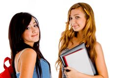 Students posing with bag and books royalty free stock photography