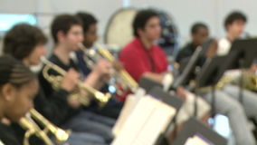 Students practicing in music class (2 of 7). A view or scene of School stock video