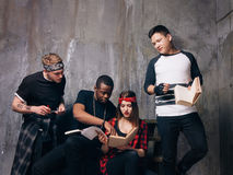 Students prepare for exams together stock photos