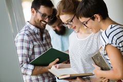 Students preparing the examinations. In a library Stock Photography