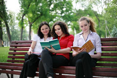Students preparing for exams. Students are trained in the park for exams Royalty Free Stock Photography
