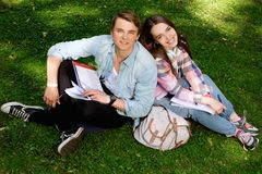 Students preparing for exams in a city park Royalty Free Stock Photo
