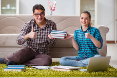 The students preparing for university exams Stock Image