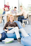 Students and professor - education at high school Stock Images