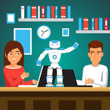 Students programming humanoid bipedal robot. University students man and woman programming humanoid bipedal robot at their laptops. Artificial intelligence Stock Photography