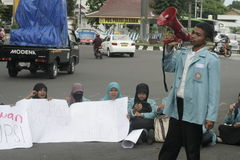 Students Protest Against Corruption In Solo City, Indonesia Royalty Free Stock Images