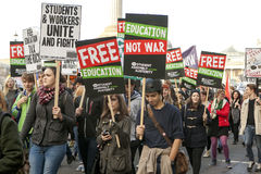 Students protest against fees and cuts and debt in central London. Stock Photography