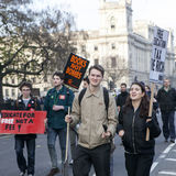 Students protest against fees and cuts and debt in central London. Stock Images