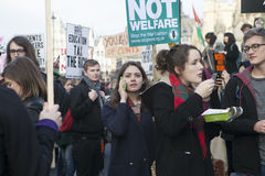 Students protest against fees and cuts and debt in central London. Stock Photo