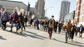 Students protest on Berry and Ontario streets in Montreal, Quebec. 2015, AVRIL 02-MONTREAL, CANADA Students around the province protesting against corruption and royalty free stock photography