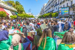 Students protesting against president Bouteflika in Algiers tuesday march 26th 2019 royalty free stock images