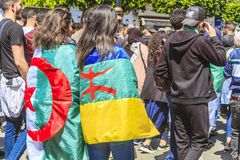 Students protesting against president Bouteflika in Algiers tuesday march 26th 2019 royalty free stock photos