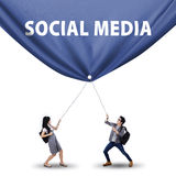 Students pulling social media banner Royalty Free Stock Image