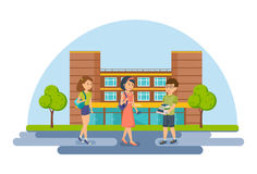 Students and pupils on background of modern university and school. Stock Images