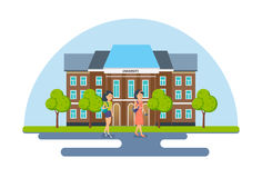 Students and pupils on background of modern university and school. Stock Photo